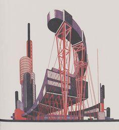 Iakov Chernikhov, Fantastic compositions, 1929-1931, composition 5