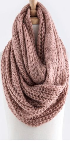 Soft Cable Knit Infinity Scarf - Rose