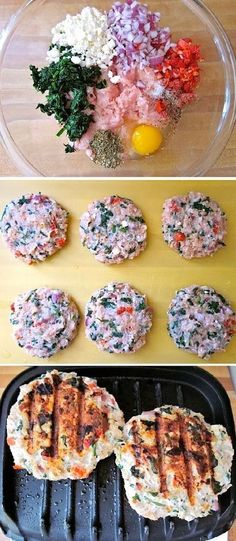 Spinach lemon feta garlic and dill pack a lot of flavor into these healthy and delicious Greek Turkey Burgers. Step by step photos.
