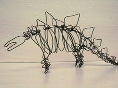 Wire Stegosaur Dinosaur sculpture by SlackGirl on Etsy, $38.00