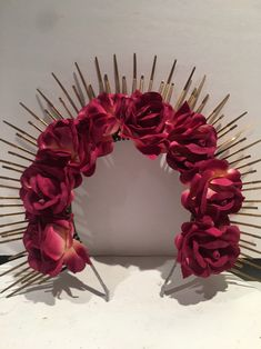 Excited to share this item from my #etsy shop: Mexican headdress -Evil queen- Flower Crown - Hair Accessory- Music Festival- Gold Crown- Heavenly Bodies- Day of the Dead Flower Headpiece, Boho Headband, Headpiece Wedding, Wedding Veils, Bridal Headpieces, Headdress, Hair Wedding, Bridal Hair, Hairband