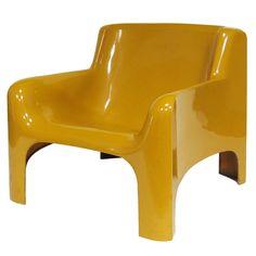 Carlo Bartoli, Lacquered Polyester Resin And Fiberglass U0027Gaiau0027 Lounge Chair  For Arflex,