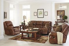 The Walworth Power Reclining Sofa from Ashley Furniture HomeStore (AFHS.com). Leather Match upholstery features top-grain leather in the seating areas with skillfully matched vinyl everywhere else.