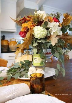 Celebrating Fall with Flowers - French Garden House Fall Flowers, Fresh Flowers, Fall Friends, Fall Floral Arrangements, Different Flowers, Flower Centerpieces, The Fresh, Dinner Plates, French Antiques