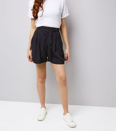 Navy Floral Jacquard Tie Waist Shorts  | New Look