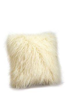 "Signature 24"" Faux Fur Pillow - Ivory Mongolian"