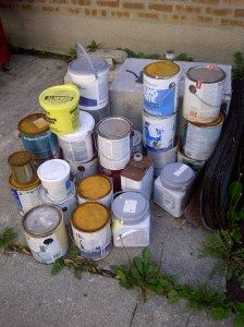 Help! How do I get rid of these old paint cans?  Read the article on how to dispose of hazardous waste around your house.