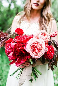 Lush Red Bouquet of Peonies and Garden Roses Red Wedding Bouquets Red Bouquet Wedding, Red Wedding Flowers, Bridal Flowers, Bridesmaid Bouquet, Gold Wedding, Floral Wedding, Burgundy Wedding, Bridal Bouquets, Green Wedding