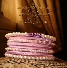Art No: b-01 Purple silk thread bangle with beads work