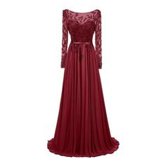 Dresstells® Long Jewel Prom Dress Beaded Sleeved Evening Party Gown:... ($180) ❤ liked on Polyvore featuring dresses, gowns, evening party dresses, prom dresses, red evening dresses, long red dress and evening gowns