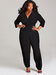 """Natalie"" Matte Jersey Jumpsuit with Sash Belt - Black - Day Dresses - Clothing - Monif C"