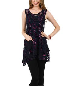 Loving this Black & Pink Lace Rose Scoop Neck Dress - Plus on #zulily! #zulilyfinds