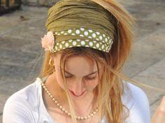 Green Dotted Beautiful Headband tichel  Snood by SaraAttaliDesign