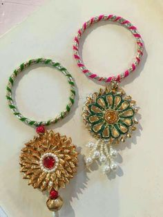 Raksha Bandhan - Rakhi or Raksha Bandhan is a holy festival of India. Raksha Bandhan is a festival of faith and love between brother and sister. Silk Thread Bangles Design, Silk Thread Necklace, Thread Jewellery, Fabric Jewelry, Silk Bangles, Gota Patti Jewellery, Handmade Rakhi Designs, Diwali Craft, Diwali Diy