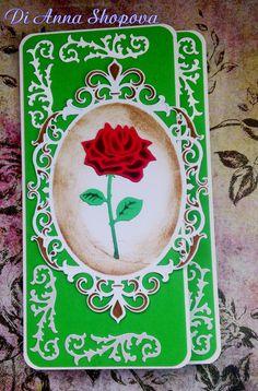 Clutch card Rose - Scrapbook.com DIES:Marianne Design Creatables Rose LR0294 , Spellbinders Nestabilities Fleur De Elegance