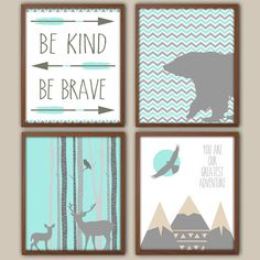 Nursery Art - Chevron Nursery Decor - Baby Boy Nursery Art - Be Kind Be Brave - Stag - Deer - Bear - Mountains - Nursery Quote - Set Of 4 on Etsy, $30.00