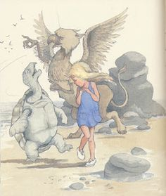 Alice,helen oxenbury Dancing with a turtle and a dragon