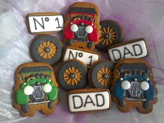 Vintage motor car themed cookies - Father's Day gift - gingerbread