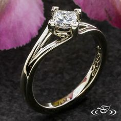 Design Your Own Unique Custom Jewelry at Green Lake Jewelry Works! Custom 14kt white gold princess cut with chevron prongs split shank floating style setting