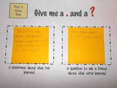 What do that students know at the end of a lesson. Give a statement about what you learned and write a question to ask a friend about the lesson content. Could use as an exit slip Teaching Strategies, Teaching Tips, Teaching Reading, Instructional Strategies, Instructional Coaching, Creative Teaching, Guided Reading, Teacher Tools, Teacher Resources