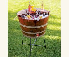 My friend Mike made one of these wine coolers!  #winebarrel