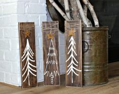 Christmas Tree Signs Set of 2 Rustic Christmas by ThreeBlueOwls