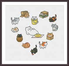 Neko Atsume Heart funny cross stitch pattern | Craftsy