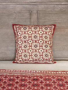 The Ruby Kilim Complementary throw cushion cover showcases a bold, dramatic, red and black kilim inspired, geometrical print on a pinkish tan ground. Black Throw Pillows, Throw Cushions, Kilim Pillows, Black Sheer Curtains, Sheer Curtain Panels, Small Room Bedroom, Bedroom Ideas, Decorative Cushions
