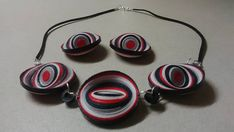 Red black and white jewelry set circle quilling earrings and