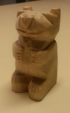 """Carved October 8, 2014 Bear is 2 3/4"""" tall. Carved from basswood.  Could be converted to a rabbit for easter"""