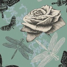 Rose and Dragonflies Cross Stitch Pattern