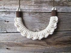 Collana di corda bianca nodo collana Knotted di NasuKka su Etsy