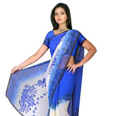 Blue and Light Cream Faux Georgette Saree with Blouse