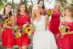 August wedding. red bridesmaids dresses. sunflower bouquets. Elizabeth + Judson | Thistle Springs Wedding - Jennefer Wilson Photography