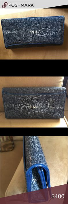 Vivo Clutch Blue Vivo Clutch, genuine Shagreen, leather lining, no strap, like new, beautiful! VIVO Bags Clutches & Wristlets