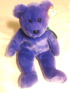 TY Purple Employee Bear Beanie Buddy,Yr..2000 #Ty    $12.95