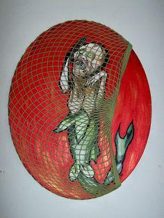 Original  I Caught the FeeJee Mermaid  Painting by horrorfemme