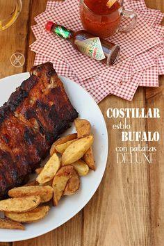 Costillar de cerdo estilo Bufalo con patatas deluxe {by Paula, Con las Zarpas en la Masa}
