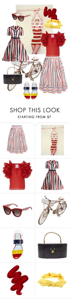 """""""'50s red stripes"""" by sofizophe ❤ liked on Polyvore featuring Rosie Assoulin, Tommy Hilfiger, Frances Valentine, Chanel and Obsessive Compulsive Cosmetics"""