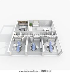#Stock #photo: #3d #interior #rendering of #furnished #dental #clinic with #three #dental #chairs #shutterstock