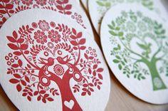 Scandinavian Folk Letterpress Coasters