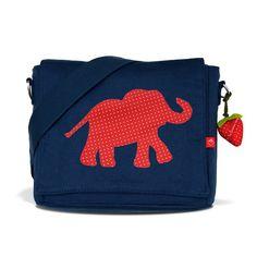 Kindergartentaschen - Kindergartentasche blau Elefant Erdbeer mit Namen - ein Designerstück von LaFraiseRouge bei DaWanda