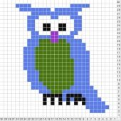 alice brans posted free online chartmaker ~ with lots of animal and word charts ready for tapestry crochet. to their -crochet ideas and tips- postboard via the Juxtapost bookmarklet. Cross Stitch Owl, Cross Stitch Charts, Cross Stitching, Cross Stitch Embroidery, Cross Stitch Patterns, Pixel Crochet, Crochet Owls, Crochet Chart, Crochet Stitches