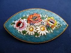 ITALIAN GLASS MICRO MOSAIC FLORAL BROOCH