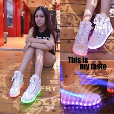 """Fashion colorful LED rechargeable luminous sneaker Cute Kawaii Harajuku Fashion Clothing & Accessories Website. Sponsorship Review & Affiliate Program opening!so fashionable and sweet, use this coupon code """"Fanniehuang"""" to get all 10% off"""