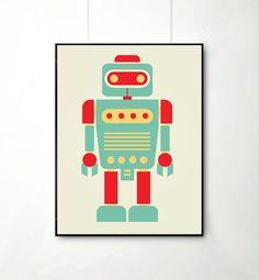 affiche retro robot dcoration pour enfants lart chambre enfants gravures ppinire - Affiche Garcon Robot