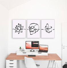 Set Of 3 Skull Art Print Line Art Skull Poster Set Home | Etsy Skull Wall Art, Floral Skull, Sugar Skull Art, Marble Pattern, Minimalist Art, Home Decor Wall Art, Line Art, Art Pieces, Art Prints