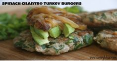 #LowCarb Spinach Cilantro Turkey Burgers Shared on https://www.facebook.com/LowCarbZen