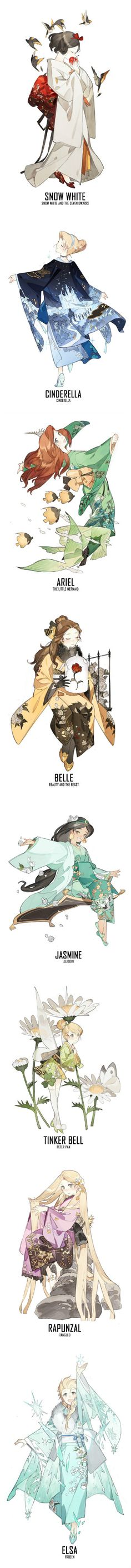 Disney Princesses - Snow White, Cinderella, Ariel, Belle, Jasmine, Tinker Bell, Rapunzel, and Elsa #kimono