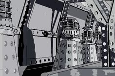The Power of the Daleks - Dalek assembly line - made on MS Paint using bamboo graphics tablet